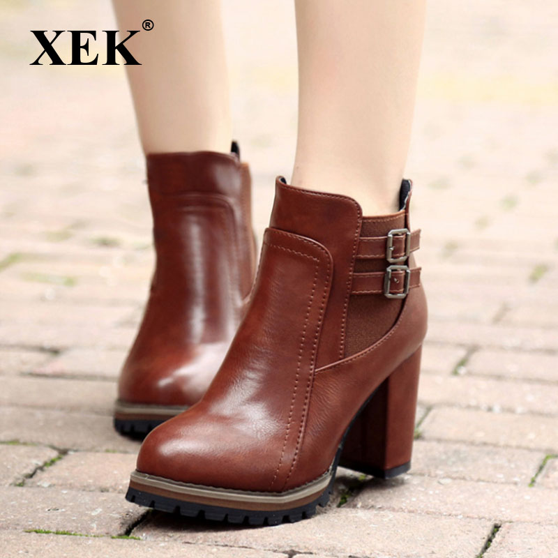 XEK 2018 Fashion Black Boots Women Heel Spring Autumn Soft Leather Platform Shoes Woman Party Ankle Boots High Heels ZLL390 bisi goro high heel boots women black beige pink platform female boots leather spring autumn shores boots heels ankle boots 2017