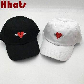 Mà trong vòi hoa sen Không Có Cấu Trúc Thêu bị hỏng-hearted Cha Hat Heartbreak mang nhãn hiệu bóng chày cap phụ nữ nam giới snapback trucker cap