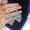 2015 New Free Shipping Luxurious Crystal Earrings for Women Large Dangle Bridal Earrings Wedding Accessories GLE5609