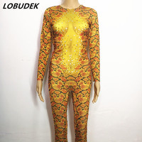 Novelty Serpentine printing Leotard jumpsuit golden yellow Flash stones bodysuit Nightclub Bar dance Ballroom stage costumes