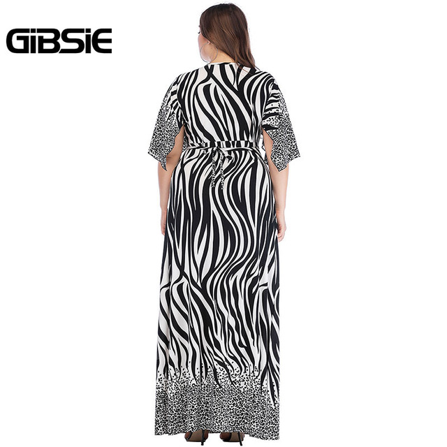 GIBSIE Zebra Print Summer Women Long Maxi Dresses 2019 Elegant Plus Size V Neck Tie Waist Casual Party Fit and Flare Dress 5