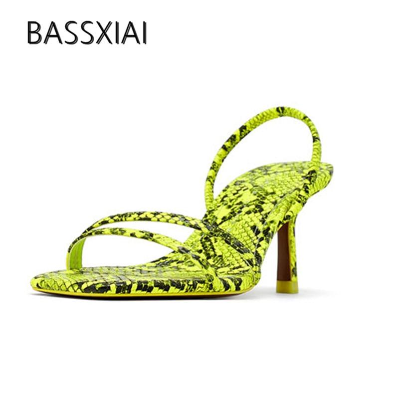 2019 Snakeskin Gladiator Sandals Woman Open Toe Narrow Band Strange Heel Pumps Women Shoes