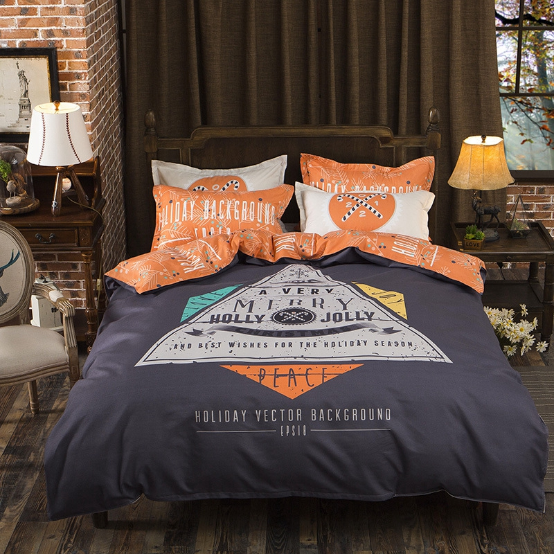 Europe Style Crazy Holiday Pattern Orange Dark Grey Print 3/4pcs Bedding Set Contain Bed Sheet Pillowcase Bedclothes Duvet Cover
