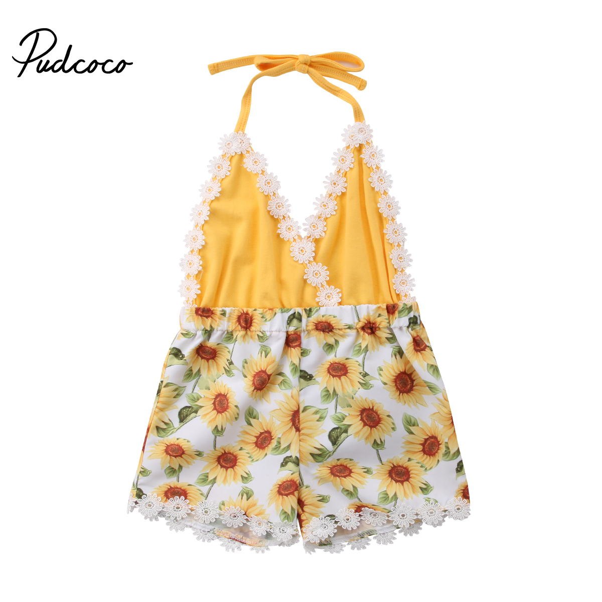 2018 Brand New 0-5Y Summer Toddler Baby Girls   Romper   Jumpsuits Lace Sleeveless Belt V-Neck Sunfolwer Yellow Patchwork   Romper