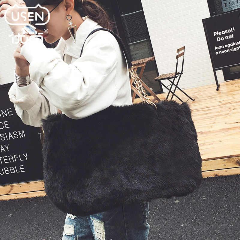 f4cd920a7b8 Winter luxury faux fur tote big women bag high fashion natural soft hair  lock handbags famous