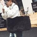 Inverno da pele do falso luxo tote grande saco das mulheres de alta moda suave e natural do cabelo bloqueio bolsas famosa Marca Espanhola de mão de designer sacos