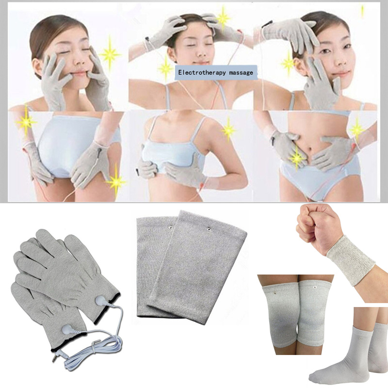 2Pcs/Pair New electrode fiber conductive massage acupuncture physiotherapy pulse Gloves wristband elbowpad sock kneepad massager