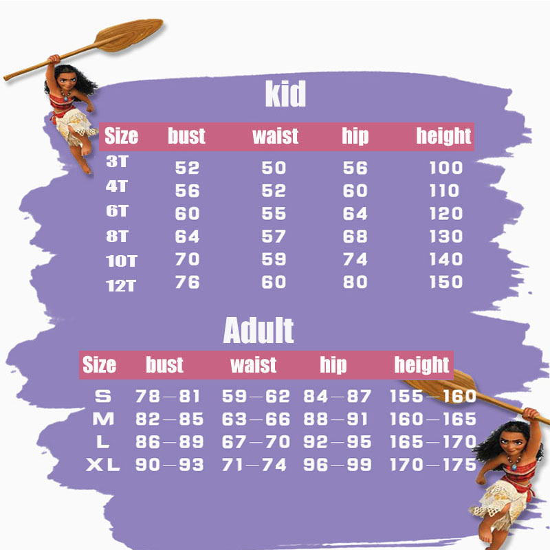 HTB1 waEXsnrK1RkHFrdq6xCoFXaB - Adult Kids Princess Vaiana Moana Costume Dresses with Necklace Wig Women Girls Halloween Party Moana Dress Costumes Cosplay