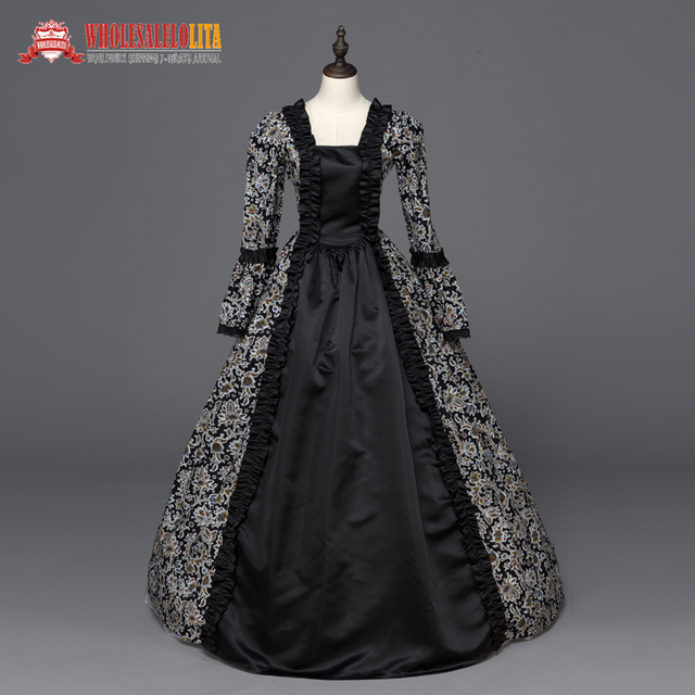 b0eb27dc89 US $19.75 21% OFF|Aliexpress.com : Buy Free Shipping Victorian Renaissance  Fair Dress Ball Gown Queen Theatrical Dresses Black Clothing from Reliable  ...