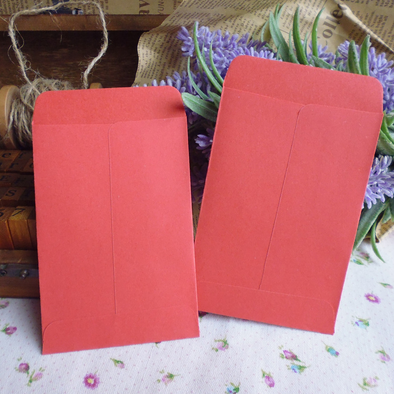 20pcs Red Retro Blank Paper Envelopes Invitation Envelope Gift Card Stationery For Party Favor Paper Bag 7x10cm+1.5cm
