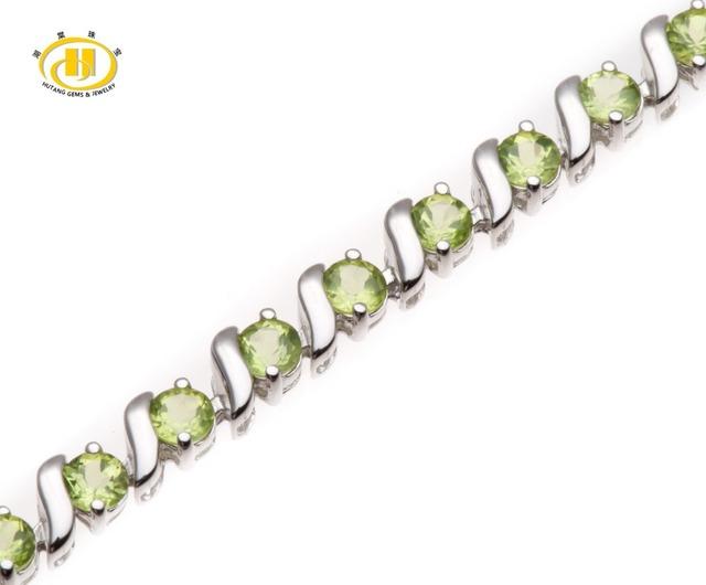 "Hutang 7.21Ct Peridoto Natural Sólido 925 Sterling Silver ""S"" Link Pulseira Fine Jewelry 7.5 Polegadas"