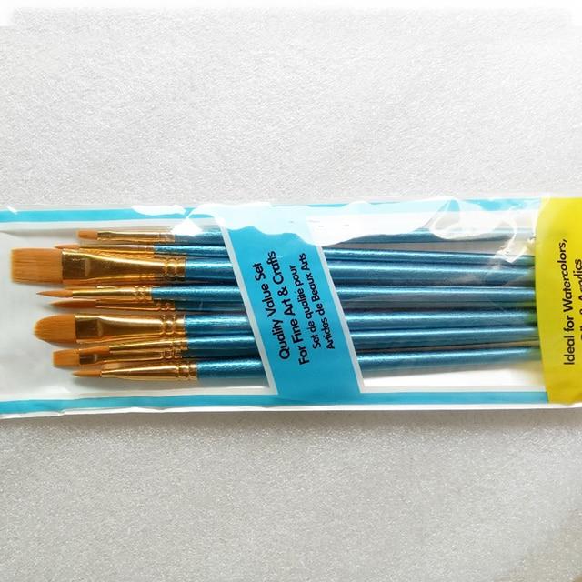 10Pcs Set Nylon Hair Paint Brush Kids Student Watercolor Gouache Beauty Nail Painting Pen