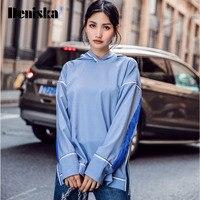2017 New Autumn Casual Contrast Color Line Hooded Loose Women Sweatshirts Side Split Raglan Sleeve Pullover Femininas Coats