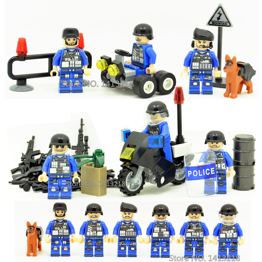 6pcs SWAT Military World War 2 Soldier Police Army Gun Weapon Car Motorcycle Building Blocks Brick Figures Toy Boy Gift Children xinlexin 317p 4in1 military boys blocks soldier war weapon cannon dog bricks building blocks sets swat classic toys for children