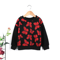 Baby Kids Girl Sweatshirts Hoodies Girls Clothing Lovely Butterfly Black Red Blouses Clothes Long Sleeves Casual