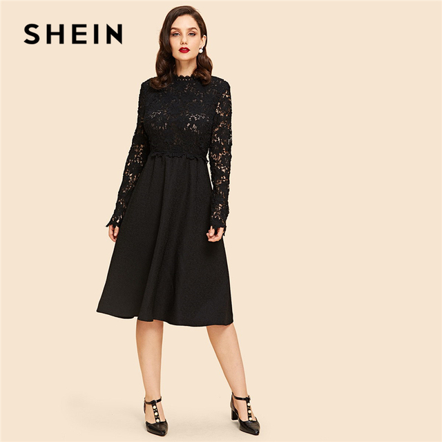 SHEIN Black Vintage Elegant Contrast Lace Sheer Long Sleeve Natural Waist Flare  Solid Dress 2018 Autumn c0c744df462c