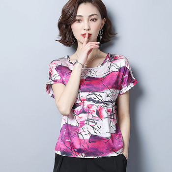Korean Fashion Silk Women Blouses Satin Print Batwing Sleeve Blue Women Shirts Plus Size XXXL/4XL Ladies Tops Femininas Elegante pinkwin blue xxxl