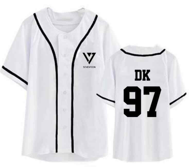 Kpop zeventien lid naam print witte baseball t-shirt zeventien zomer stijl korte mouw t-shirt