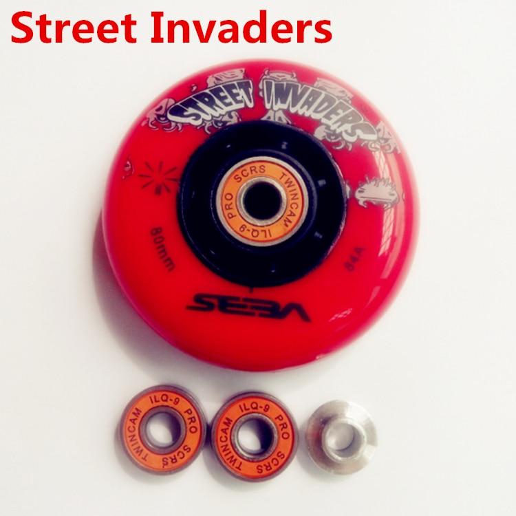 8 Pcs SEBA Street Invaders FSK Slalom Skating 84A Wheels, ABEC-9 ILQ-9 ILQ-11 Inline Skates Skate 608 608zz Bearing Bearings