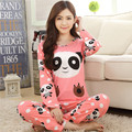 Melhor promoção 2016 Primavera Outono Das Mulheres Conjuntos De Pijama Mulheres Pijamas Pijamas meninas pijamas de Manga Longa para a mulher frete grátis