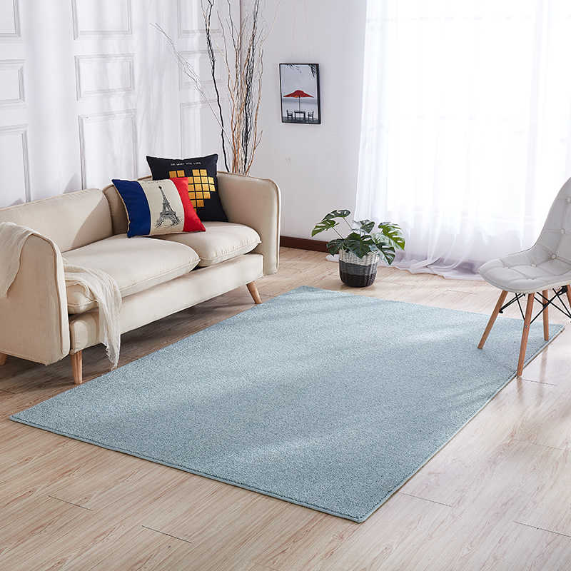 Simple Style Solid Light Blue Color Living Room Rug