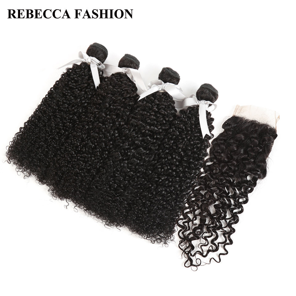 Rebecca Peruvian Curly Weave Human Hair 4 Bundles With Closure Non Remy Curly Hair Bundles With 4x4 Lace Closure Free Shipping