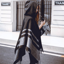 2018 New Fashion Oversized Shawls Warm Winter Hooded Wrap Cashmere Poncho Plaid Capes Outwear Cardigans Sweater Coat Tassel
