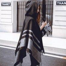 2018 새로운 패션 대형 shawls 따뜻한 겨울 후드 랩 캐시미어 판초 격자 무늬 케이프 outwear 카디건 스웨터 코트 술