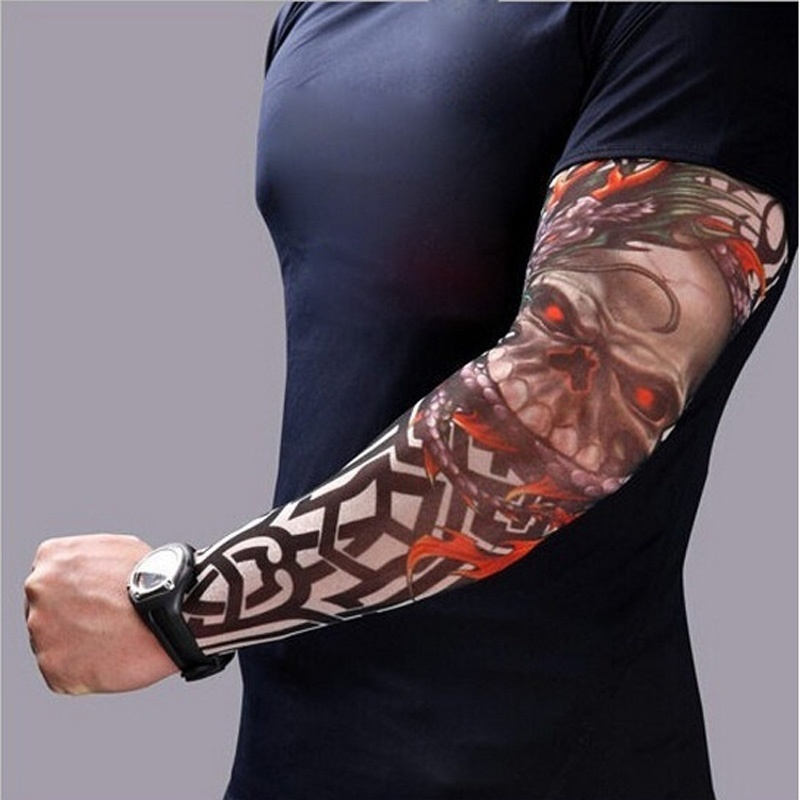 Men's Arm Warmers Self-Conscious New Fashion 1pcs Punk Skull Theme Fake Tattoo Sleeves Nylon Elastic Tamporary Arm Stockings Tatoo For Cool Men Women