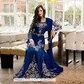 Impresionantes Vestidos de Mangas Largas Azul Real Rebordeó Marroquí Kaftan Marroquí Vestido de Satén del Estiramiento de la Gasa Vestidos Del Partido 1212 K