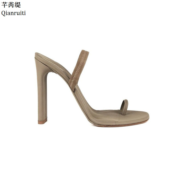 Qianruiti Kim Kardashian Style High Heels Women Shoes Nude Faux Suede Block Heels Women Sandals Slip-On Slingback Women Pumps