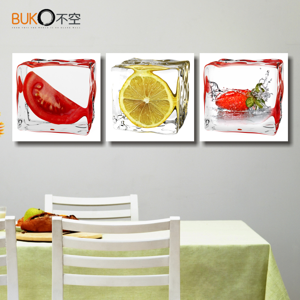 3 panel printed fruit lemon canvas painting modern modular - Kitchen canvas wall decor ...