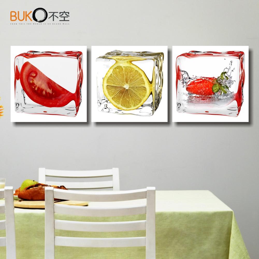 Art Décor: 3 Panel Printed Fruit Lemon Canvas Painting Modern Modular