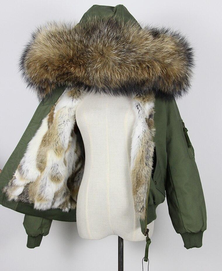 winter jacket coat women parka cotton bomber jacket real natural raccoon fur collar hooded and natural rabbit fur warm liner