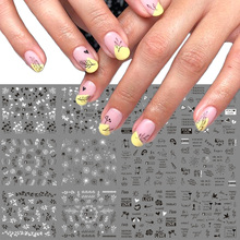 Mixed Designs Leaf Nail Stickers Writing Letter Nail Art Water Transfer Decals Black White Tattoo Slider Decoration TRA1513 1524