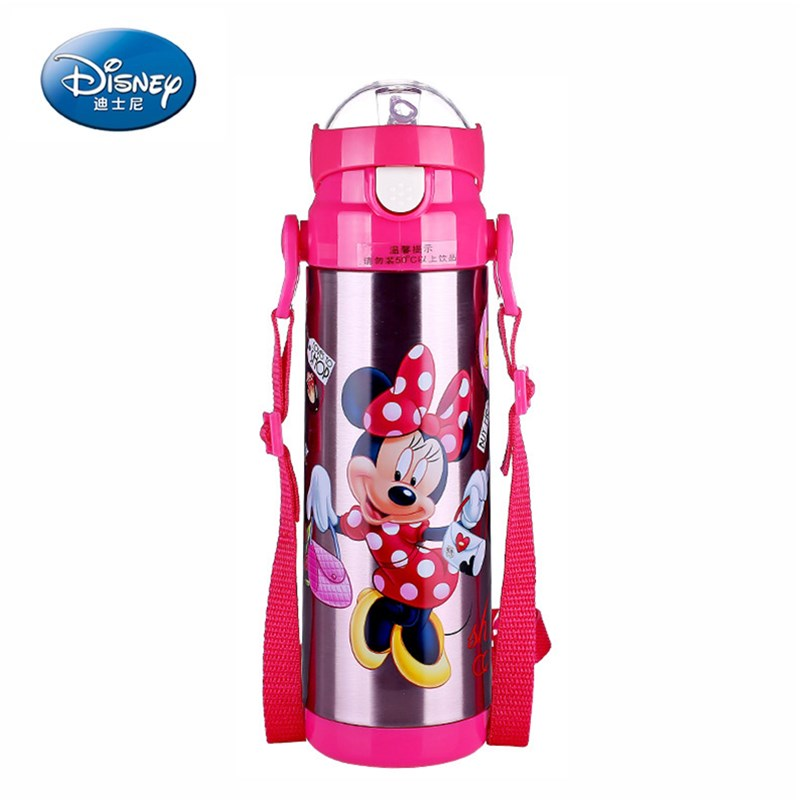 500ml Disney Baby Cup Water Drinking Bottle Micky Minnie Thermos Flask Portable Child Feeding Cup Baby Travel School Using 240ml baby drinking water bottle cups with straw portable feeding bottle cartoon water feeding cup with the handle for baby hot