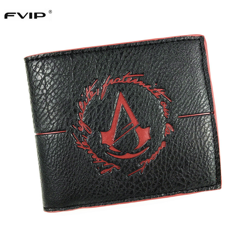 FVIP Mens Wallet With Coin Purse Minimalist Game Assassins Creed Wallet Leather Mens Wallet With Coin Pocket Small Purse