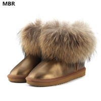 MBR 2017 Fashion Thick Natural Fox Fur Snow Boots Women UG Boots 100 Real Leather Waterproof