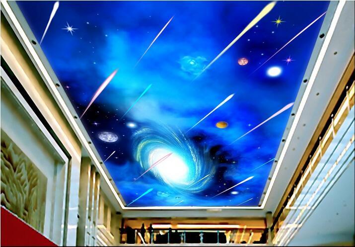 Custom photo 3d wallpaper mural European sky meteor shower sitting room ceiling murals 3d wall murals wallpaper for living room