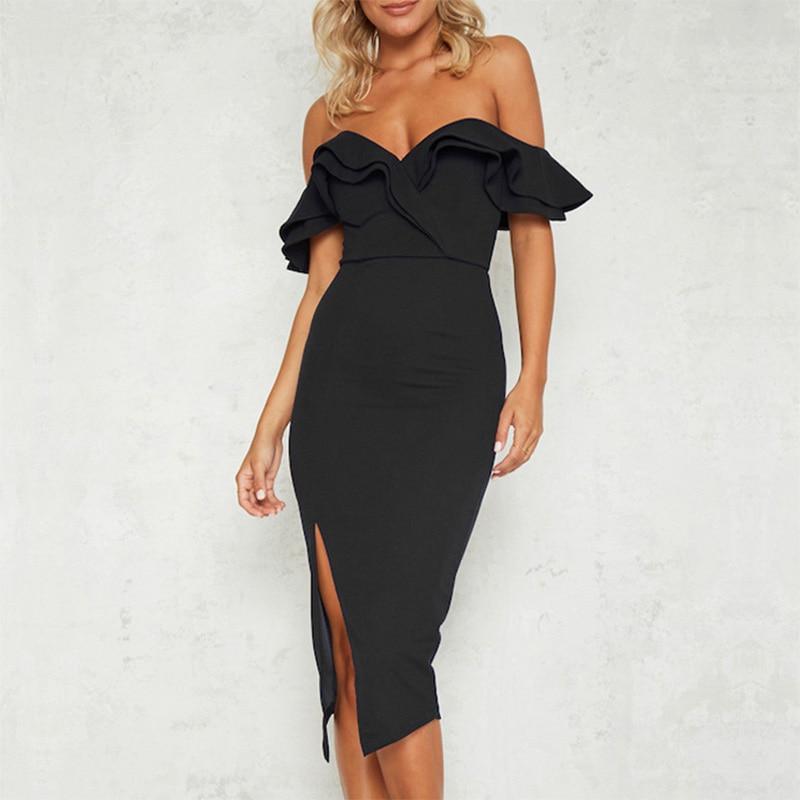 Shape black one shoulder split bodycon dress