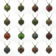 16PC Vintage Bronze Mix Design Alloy Trendy Locket Fragrance Essential Oil Perfume Diffuser Pendant Necklace Jewelry Women Gift