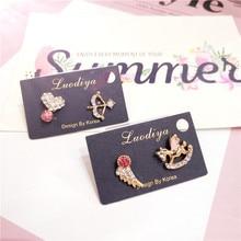 Korea Handmade Cartoon Horse Angel Heart Rhinestone Women Drop Earrings Bangle Fashion Jewelry Accessories-JQD5