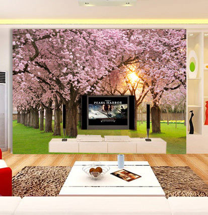 Free Shipping Living room TV sofa bed painted wall mural wallpaper romantic backdrop cherry tree H476  free shipping chinese ink classical retro wallpaper mural living room tv room wallpaper