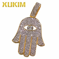 Xukim Jewelry Iced Out Micro Pave AAA CZ Gold Plating Evil Eye Hamsa Hand Hip Hop Jewelry Pendant Necklace