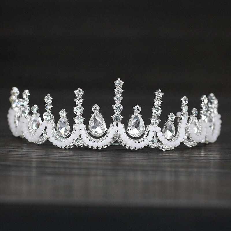 Роскошные Rhinestone Свадебная Тиара Корона барокко кристалл диадема для невесты свадебные корональных головной убор, украшения для волос аксе...