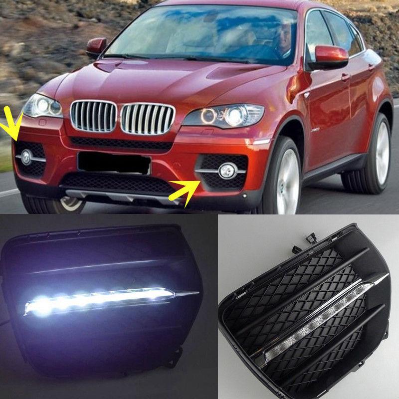 LED Daytime Running Lights DRL LED Fog Lamp For BMW X6 E71