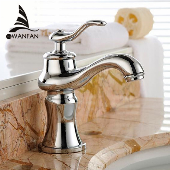 Basin Faucets Brass Chrome Silver Luxury Bathroom Sink Faucet Single Handle Hole Bathbasin Hot Cold Mixer Water Tap YLS5871-111 newest washbasin design single hole one handle bathroom basin faucet mixer tap hot and cold water orb chrome brusehd