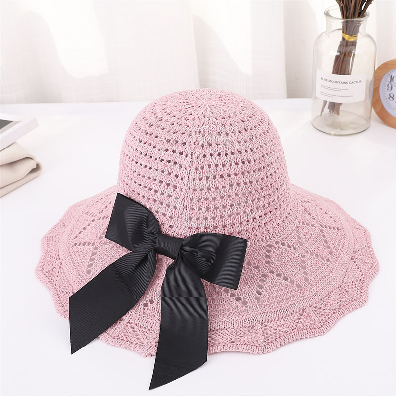 Women Sun Protective Hat Cotton Knitted Foldable Bowknot Beach Cap for Outdoor -MX8