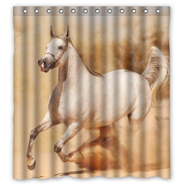 Runing Horse In The Desert Custom Shower Curtain Fabric Bath Bathroom  Waterproof Shower Curtains Size 48x72