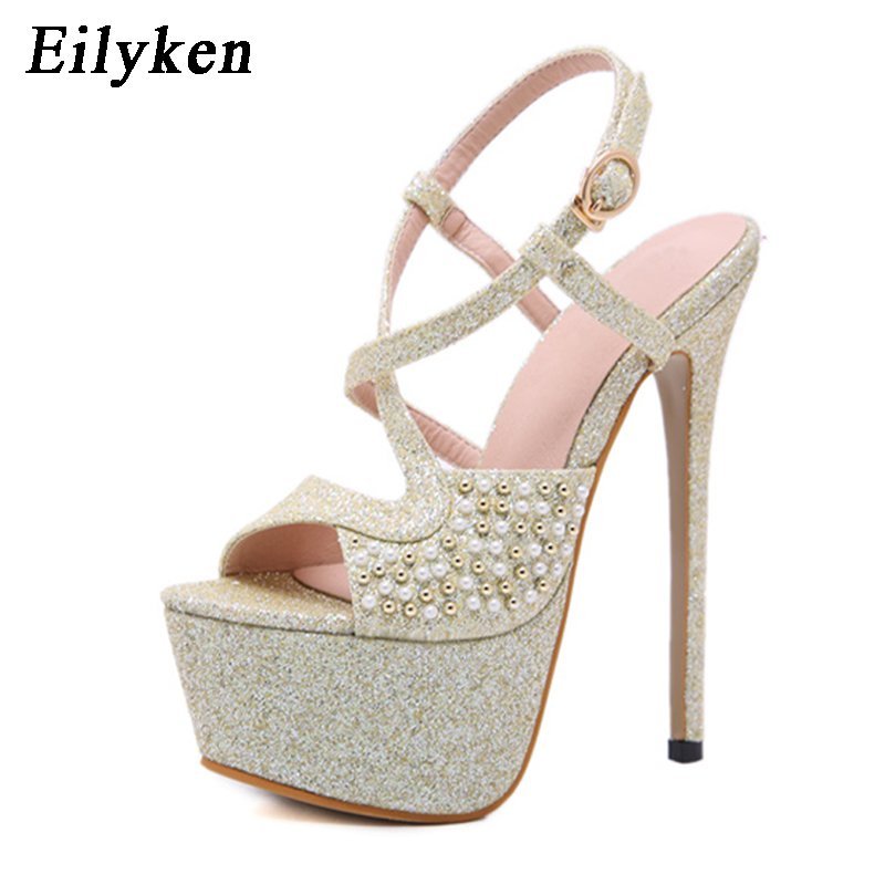 Eilyken 2019 New Fashion Peep Toe Buckle Sandals Summer Wedding Party women shoes Ladies Sexy High Heels Party Dance woman Pumps
